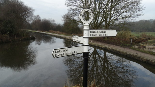 Canal signpost at Hazelhurst at junction of Leek Canal & Caldon Canal