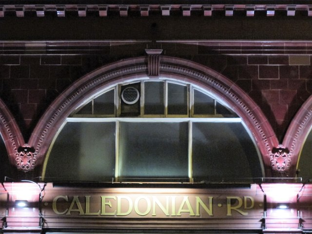 Caledonian Road tube station, Caledonian Road, N7 - detail (at night)