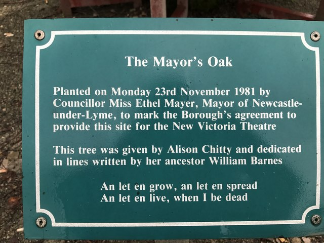 Newcastle-under-Lyme: New Vic Theatre - information board about the Mayor's Oak