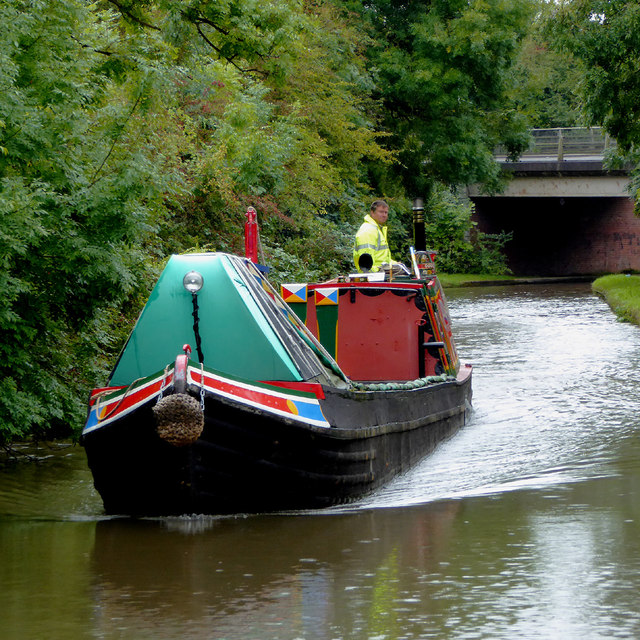 Working narrowboat east of Fazeley in Staffordshire