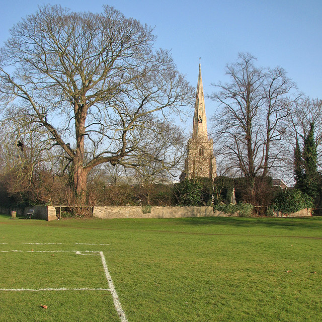 Chesterton: winter trees and St Andrew's spire