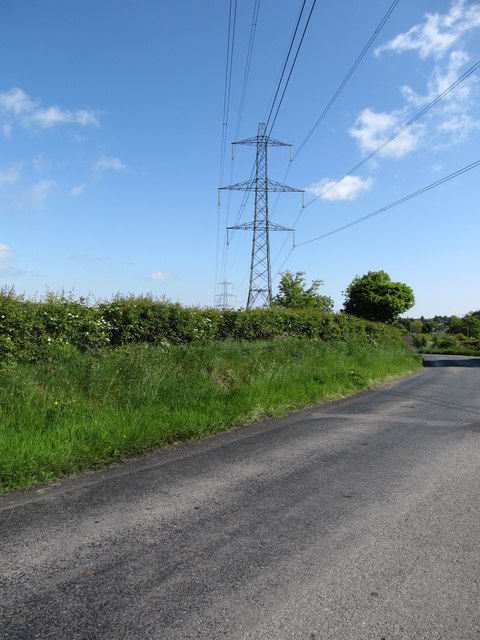 The Louth to Tandragee North-South Interconnector crossing Ballymoyer Road