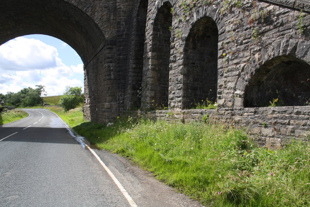Railway bridge taking S&C Railway over the A684 by Moorcock Cottages