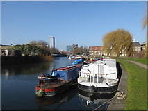 TQ3882 : The Limehouse Cut, the River Lea and Three Mills by Marathon