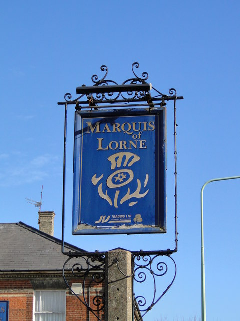 Hanging sign for the former 'Marquis of Lorne' by Adrian S Pye
