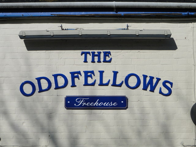 Sign on 'The Oddfellows' public house