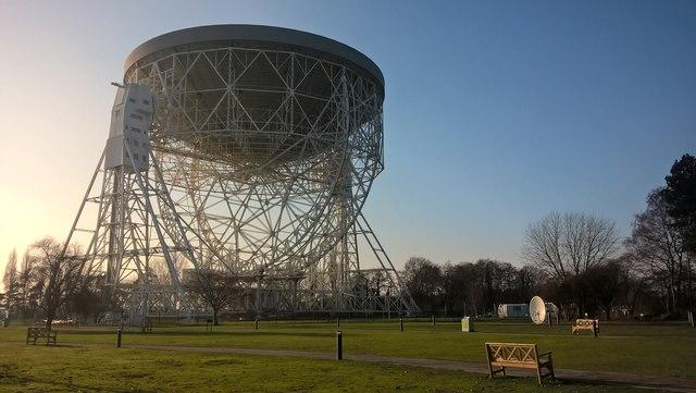The Lovell Telescope parked for maintenance.  Jodrell Bank Observatory