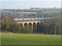 TQ5365 : Southeastern train on Eynsford Viaduct seen from The Darent Valley Path by Marathon