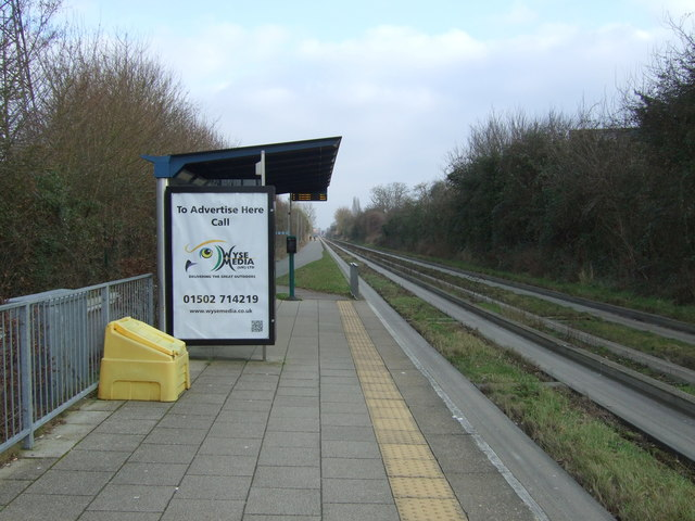 Bus stop and shelter on the Cambridge Guided Busway