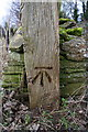SP2709 : Benchmark on wooden gatepost beside minor road NW of Shilton by Roger Templeman