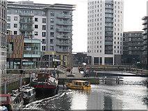 SE3032 : Waterbus arriving at Leeds Dock by Stephen Craven