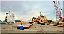 TA0827 : Preparing to Load North Sea rig support vessel by Chris Morgan