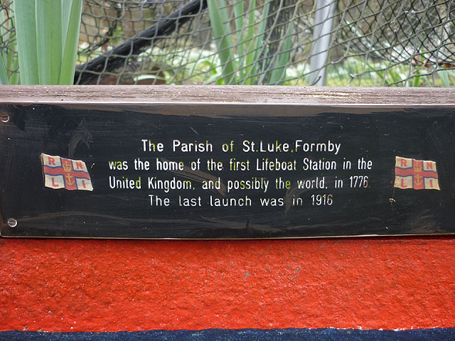 Plaque on Lifeboat Station memorial, St Luke's Church, Formby