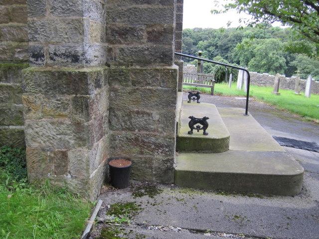 The entrance steps to St Margaret's, High Bentham