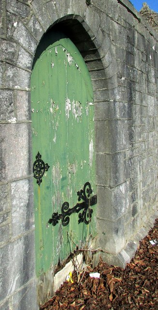 Door in wall by Torquay Cemetery lodge