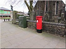 SS8591 : Queen Elizabeth II pillarbox and a telecoms cabinet, Talbot Street, Maesteg by Jaggery