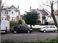 SZ1292 : Boscombe East: across Harewood Avenue to footpath J08 by Chris Downer
