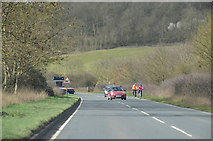 SP0147 : Cyclists on the A44 Evesham Road by J.Hannan-Briggs