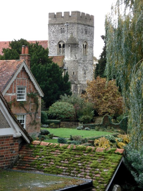 Goring church from the bridge over the River Thames