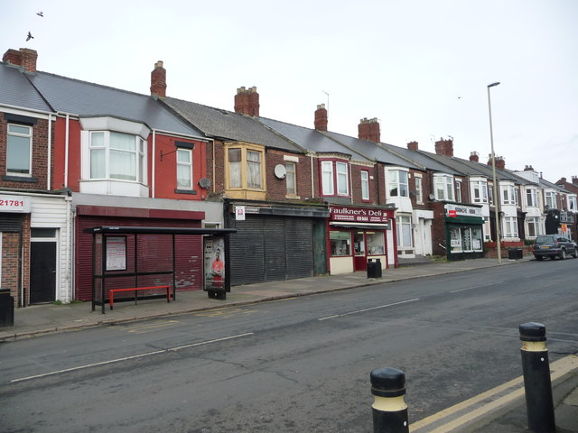 Bus stop and shops on Stanhope Road