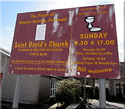 SS8178 : Information board outside St David's Church, Nottage by Jaggery