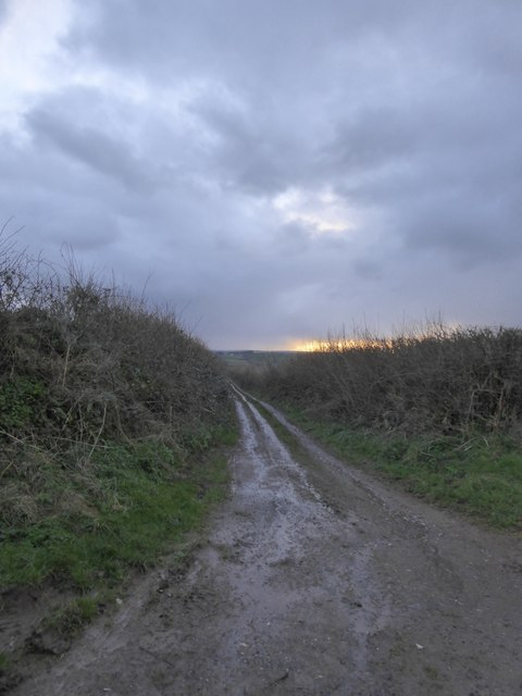 The unmetalled road west of Preston Cross