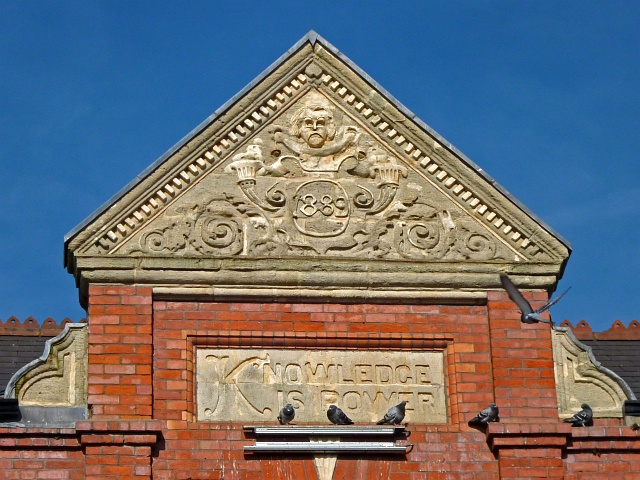 Pediment on the former Pillgwenlly Library, Newport