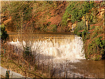 SJ8382 : River Bollin Weir above Quarry Bank Mill by David Dixon