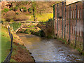 SJ8383 : River Bollin, Pack Bridge at Quarry Bank Mill by David Dixon