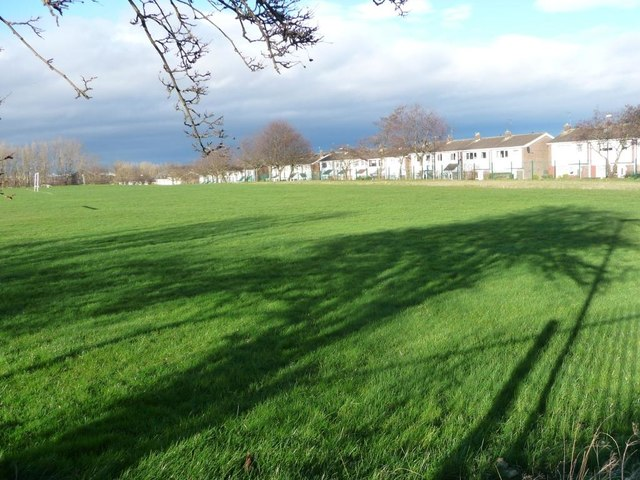 Tree shadow on a school sports field, Fellgate