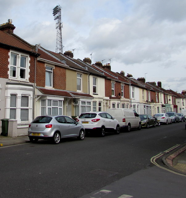 Cars, houses and floodlights, Carisbrooke Road, Portsmouth