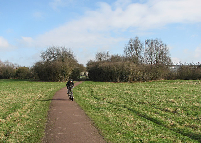Cycling across Coldham's Common in March