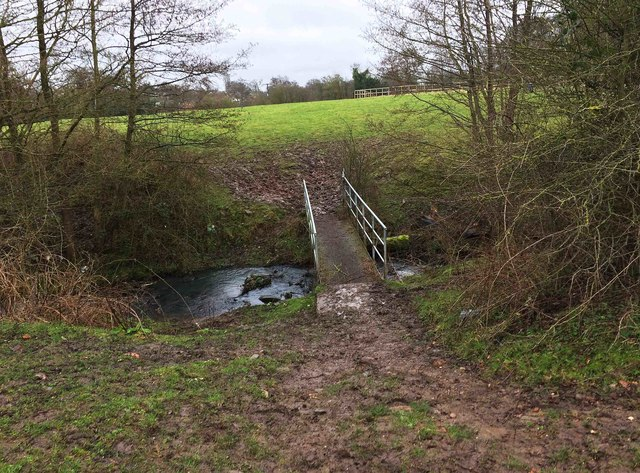 North Worcestershire Path - footbridge over the River Cole, near Major's Green, Worcs