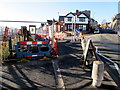 ST3088 : Temporary fencing on the corner of Mill Street and Devon Place, Newport by Jaggery