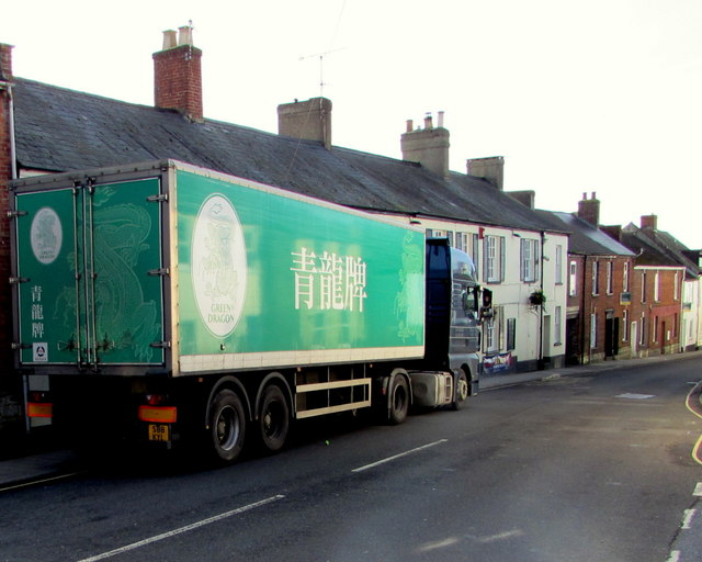 Green Dragon lorry in Lyme Street, Axminster