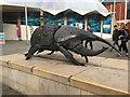 ST5872 : Uncredited sculpture of a Hercules beetle outside Bristol Aquarium by Robin Stott