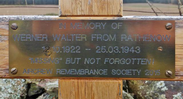 An inscription on a WW2 memorial cross at Darlingfield near Earlston