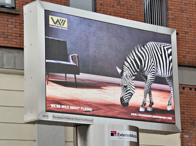 Zebra digital advertising, Belfast (March 2017)