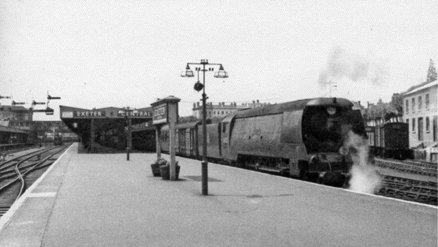 Exeter Central, with Bulleid Light Pacific 'Blackmore Vale', 1953