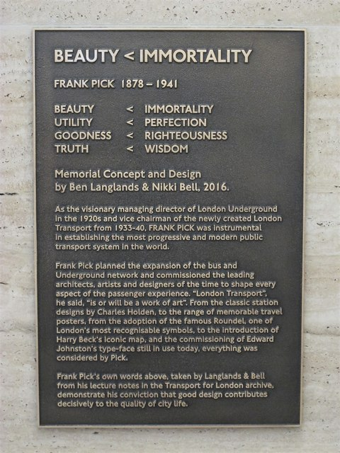 Piccadilly Circus tube station - tribute to Frank Pick (plaque)