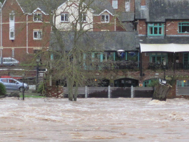 Flood water at The Mill On The Exe