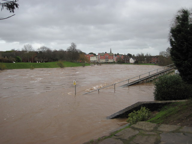 The River Exe in flood