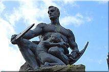 NX6851 : Bronze Seated Warrior, Kirkcudbright by Billy McCrorie