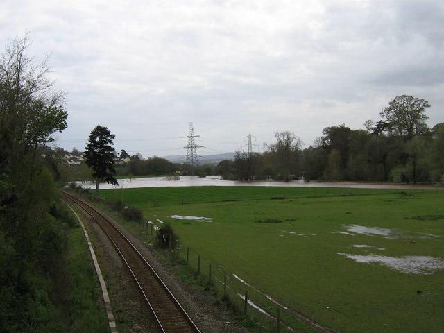 Flooding of low lying land near River Creedy