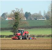 TM0993 : Drilling a field near Doublebank Farm by Evelyn Simak