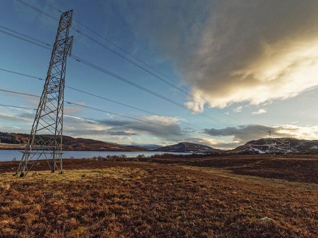 New power lines above Loch Duntelchaig