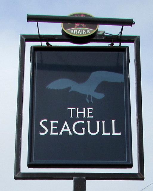 Seagull pub name sign, Porthcawl