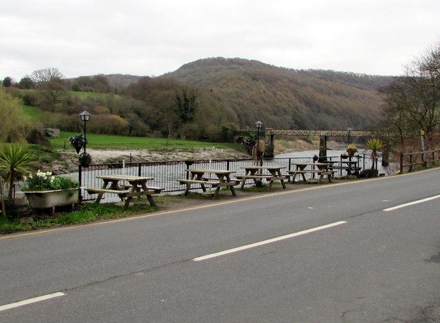 Riverside picnic tables, Tintern