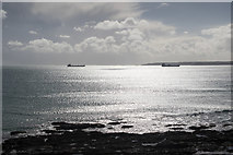 SW8031 : Looking out to Sea from Gyllyngvase Beach, Falmouth, Cornwall by Christine Matthews