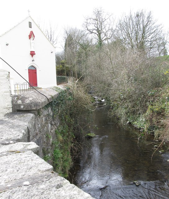 Carrickananny River flowing past St Brigid's Church